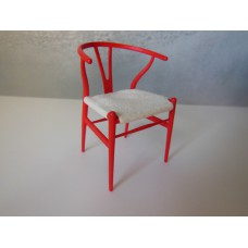 Wishbone Chair - Red with Cream Microsuede Seat