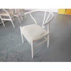 Wishbone Chair - White with Cream Microsuede Seat