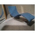 Blue Chaise with Metal Base