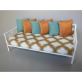 Cortez Daybed with White Frame and Rust Moroccan Print