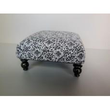 Ottoman in Black White Floral Print
