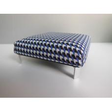 Ottoman in Blue / Black / White Check