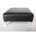 Ottoman in Black Croc Leather