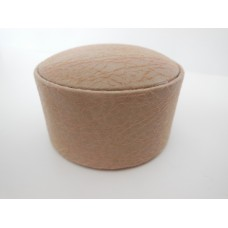 Large Round Ottoman in Tan Hide