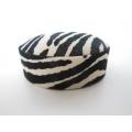 Zebra Print Round Ottoman in Black/White