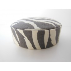 Zebra Print Round Ottoman in Gray/Cream
