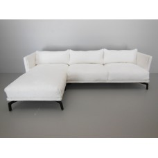 Lusso Sectional in White Micro Suede