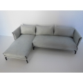Lusso Sectional in Gray Micro Suede