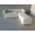 White Microsuede Metro 2 Sectional