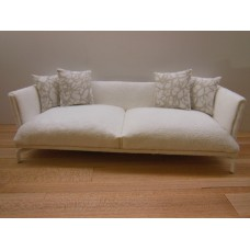 Lusso Couch in White Micro Suede
