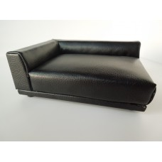 Uno Sofa in Black Leather - Left Arm