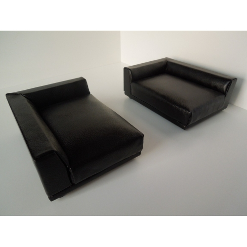 Uno Sofa In Black Leather Left Arm