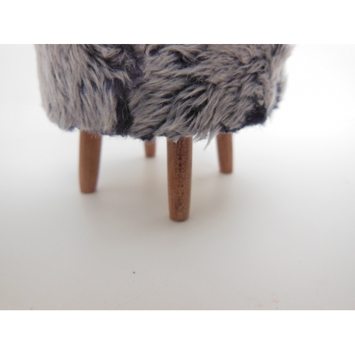 Modern Dollhouse Furniture M112 Pods Gray Faux Fur