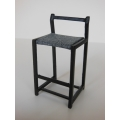 Sixx Bar Stool with Black Frame and Gray Seat