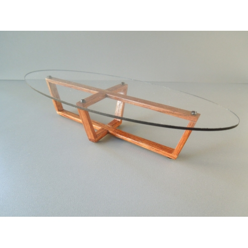 Elipse Coffee Table With Glass Top U0026 Cherry Base