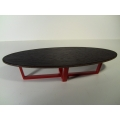 Elipse Coffee Table with Wood Top & Red Base