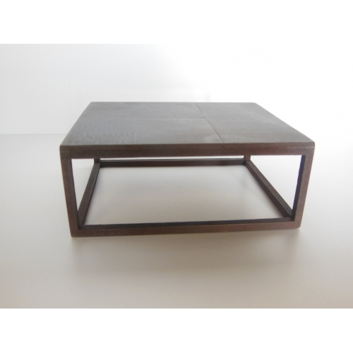 Industrial Parsons Coffee Table With Burnished Black Top And Base