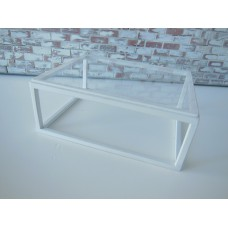 Parsons Coffee Table with Glass Top and White Base