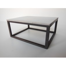 Parsons Coffee Table with White Wash Top and Black Base