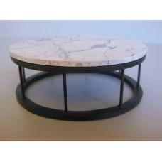 Marble Spoke Drum Table Marble/Black