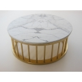 Marble Spoke Drum Table Marble/Gold