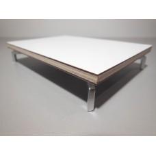 White Laminate Coffee Table with Silver J Leg