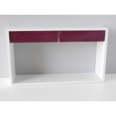 Emerson Console Table with White Base and Purple Heart Drawers