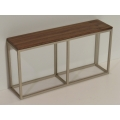 Industrial Console Table - Champagne Base with Walnut Top