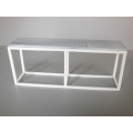 Industrial Console Table - White Base with Burnished Metal Top