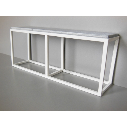 Industrial Console Table   White Base With Burnished Metal Top