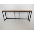 Extended Industrial Console Table - Hickory Top with Natural Steel Base