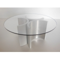 "Lotus ""3"" Dining Table in Brushed Metal"