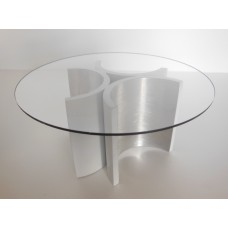 """Lotus """"3"""" Dining Table in Brushed Metal"""