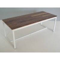 Parsons Dining Table - White Base with Walnut Top