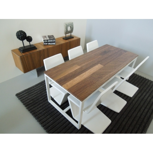 Modern Dollhouse Furniture M PODS Parsons Dining Table - White and walnut dining table