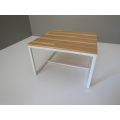 Parsons Square Dining Table - White Base with Hickory Plank Top