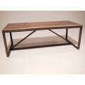Strut Dining Table with Natural Steel Base and Hickory Top
