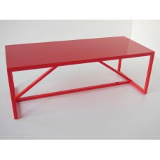 Strut Dining Table with Red Base and Red Top