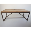 Strut Dining Table with Rust Base and Hickory Top