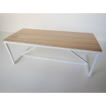 Strut Dining Table with White Base and Birch Top
