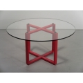 X Dining Table in Red with Round Top