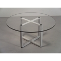 X Dining Table in White with Round Top