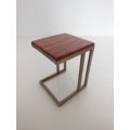 Carson Side Table Cocobolo Top Champagne Base