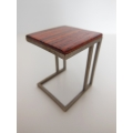 Carson Side Table Cocobolo Top Metal Base