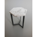 Hexagon Side Table in Marble/Black