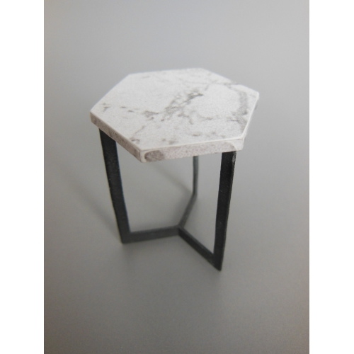Modern Dollhouse Furniture M PODS Hexagon Side Table In - Hexagon marble coffee table