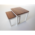 Nesting Side Tables with White Base and Rosewood Top