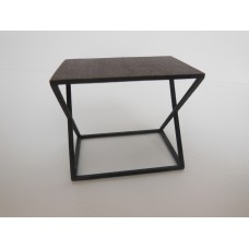 Wide Scissor Side Table in Rust
