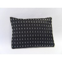Charcoal Silver Dash Large Rectangle Pillow