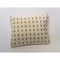 Cream Black Dash Large Rectangle Pillow